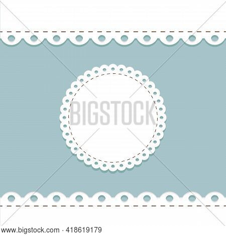 Lacy Frame And Border Template. Cute Round Doily On Blue Background With Scallop Border. Cute Templa