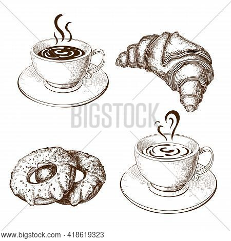 Coffee Cups, Croissant, Donuts Drawing, Illustration Isolated On White. Sketch Of Hot Cup Of Coffee