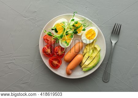 Lunch With Boiled Eggs With Sausages