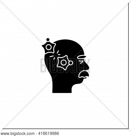 Alzheimer Disease Glyph Icon.loss Connection Between Nerve Cells.memory Loss, Language Problems, Imp