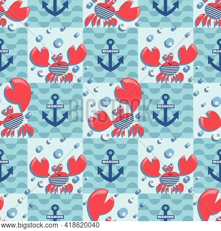 Red Crabs. Sea Waves. Vector Background. Bright Crabs On Marine Checkered Background.