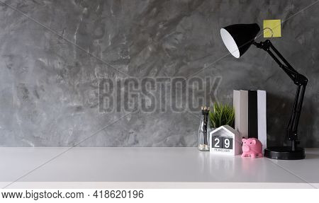Workspace Mock Up Marble Tabletop With Pencils, Smart Calendar And Book. Copy Space Desk With Copy S