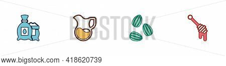 Set Pack Full Of Seeds Of Plant, Jug Glass With Milk, Seeds And Honey Dipper Stick Icon. Vector