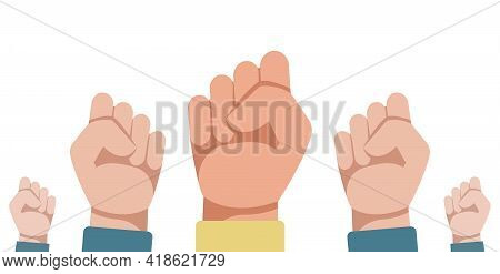 Vector Illustration Of Raised Hands Clenched Into A Fist. Raised Fist