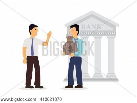 Businessmen Negotiations And Approved Loan From Bank. Concept Of Business Building. Flat Vector Illu