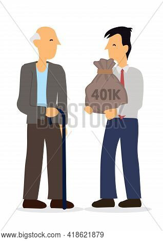Man Giving Retirement Fund To Old Man. Concept Of Retirement Mutual Fund, 401k Or Roth Ira Savings F