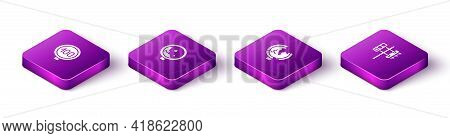 Set Isometric Speed Limit Traffic, Road Warning Rockfall, Sign And Traffic Light Icon. Vector