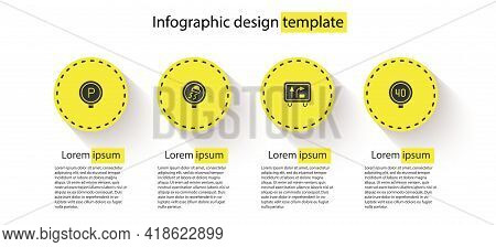 Set Parking, Slippery Road Traffic, Road Sign And Speed Limit. Business Infographic Template. Vector