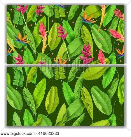 Jungle Green Vector Seamless Patten Set, Banana Leaves, Exotic Tropical Flowers On Green Background.
