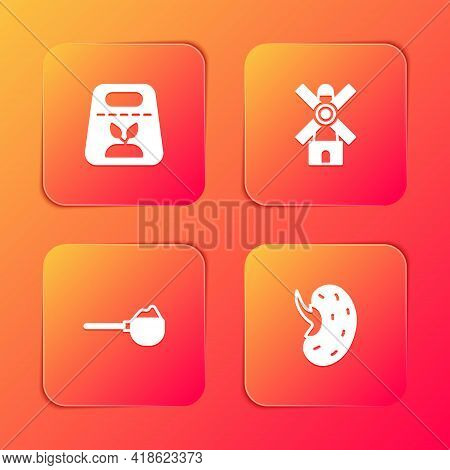 Set Pack Full Of Seeds Of Plant, Windmill, Measuring Cup With Flour And Seed Icon. Vector