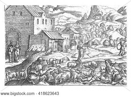 Sarah sends her pregnant servant Hagar away. On the left you can see how Sarah consults Abraham about what to do with Hagar. Sara is standing in the middle. On the right the fleeing Hagar.