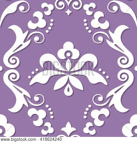 Damask Royal Vector Seamless Textile Or Farbic Print Pattern, Classic Victorian Repetitive Design Wi