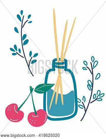 Aroma Therapy Set. Wooden Aroma Sticks In Glass Jar With The Smell Of Cherries.   Essential Air Frag