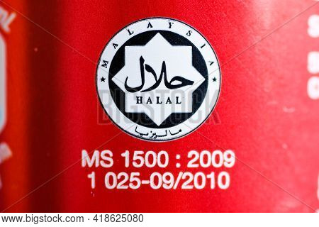 Klang,malaysia- Circa April, 2021: A Macro Photography Picture Of Malaysia Halal Logo On A Can