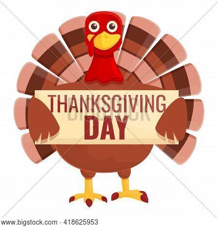 Thanksgiving Turkey Holiday Day Icon. Cartoon Of Thanksgiving Turkey Holiday Day Vector Icon For Web