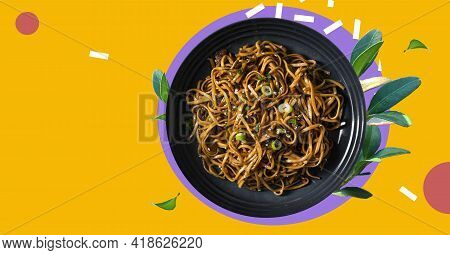 Stir Fry Noodles With Vegetables And Shrimps In Black Bowl. Japanese Soba Salad With Vegetables. Bow