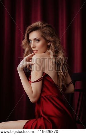 Elegant Woman In A Trendy Dress. Natural Colors. Trend Of 2021.