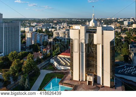Chisinau, Moldova, August 2020: Aerial drone view of Presidential Palace and Ministry of Agriculture and Food Industry buildings in the center of capital city