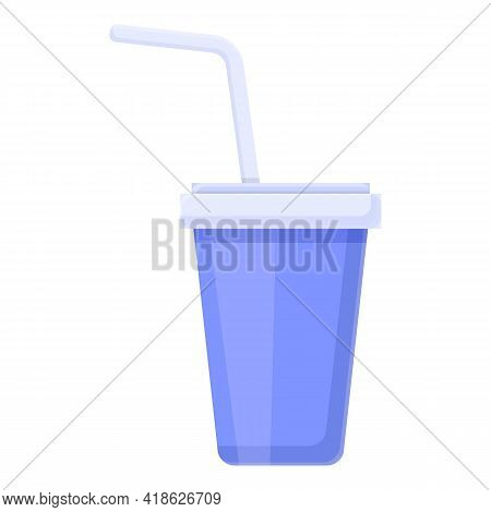 Soda Cup Icon. Cartoon Of Soda Cup Vector Icon For Web Design Isolated On White Background