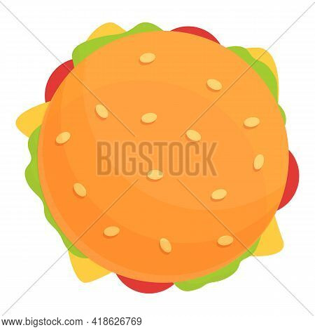 Top View Burger Icon. Cartoon Of Top View Burger Vector Icon For Web Design Isolated On White Backgr