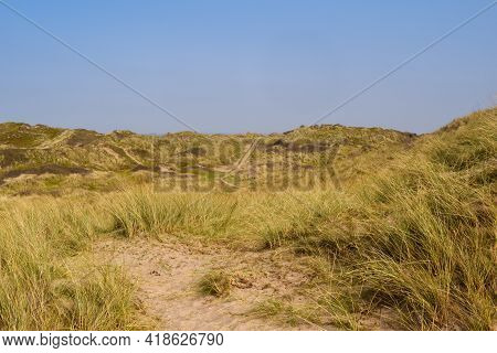 Sand dunes leading to the sea in a beach holiday setting