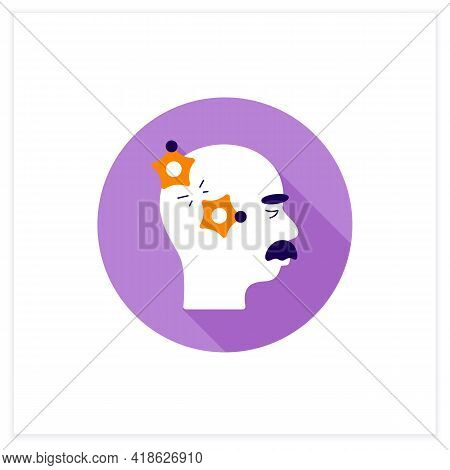 Alzheimer Disease Flat Icon.loss Connection Between Nerve Cells.memory Loss, Language Problems, Impu