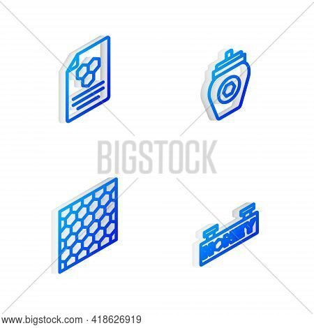 Set Isometric Line Jar Of Honey, Honeycomb, And Hanging Sign With Honeycomb Icon. Vector