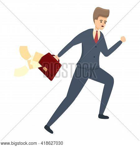 Running Man Rush Job Icon. Cartoon Of Running Man Rush Job Vector Icon For Web Design Isolated On Wh