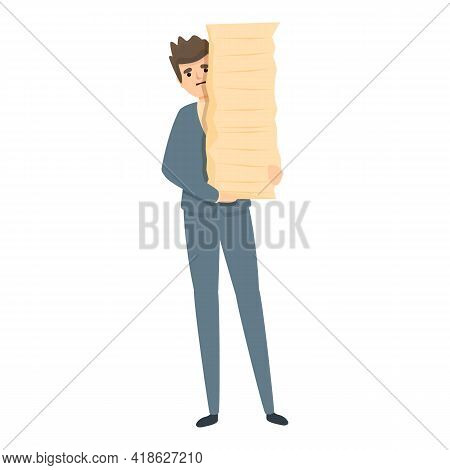 Rush Job Papers Stack Icon. Cartoon Of Rush Job Papers Stack Vector Icon For Web Design Isolated On