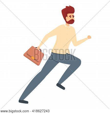 Rush Job Briefcase Running Icon. Cartoon Of Rush Job Briefcase Running Vector Icon For Web Design Is