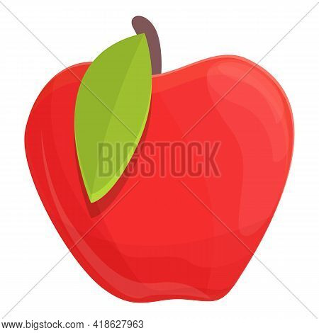 Protein Red Apple Icon. Cartoon Of Protein Red Apple Vector Icon For Web Design Isolated On White Ba