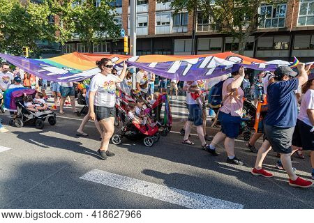 Lgtbq Pride Festival Celebration. Barcelona - Spain. June 29, 2020: Gay Families With Their Little C