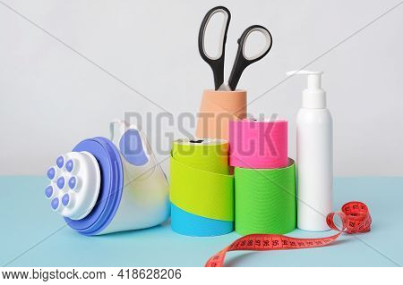 Handheld Massager, Rolls Of Kinesiology Tape For Athletes, Scissors, Soft Measuring Tape And Antisep