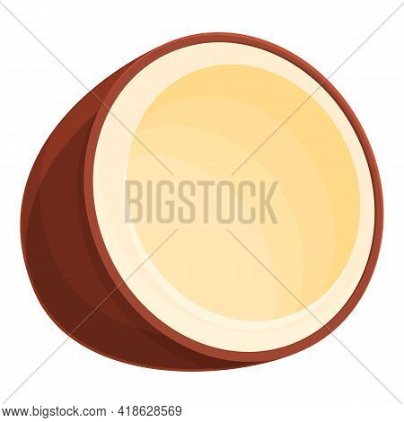 Half Coconut Icon. Cartoon Of Half Coconut Vector Icon For Web Design Isolated On White Background