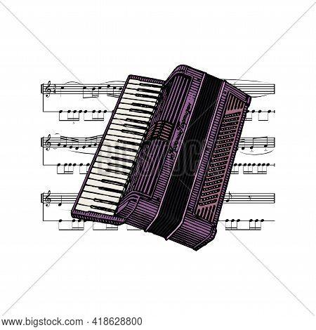 Modern Musical Instrument Accordion, Accordion. Classic Accordion, Harmonious Sound. Realistic Keybo