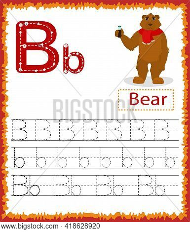 Vector Illustration Of Exercises With Cartoon Vocabulary For Kids. Colorful Letter B Uppercase And L