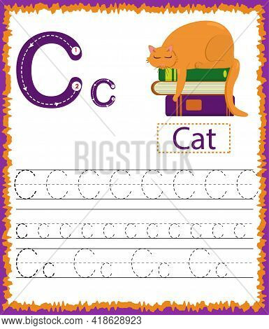 Vector Illustration Of Exercises With Cartoon Vocabulary For Kids. Colorful Letter C Uppercase And L