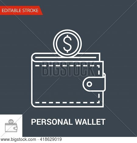 Personal Wallet Icon. Thin Line Vector Illustration. Adjust Stroke Weight - Expand To Any Size - Eas