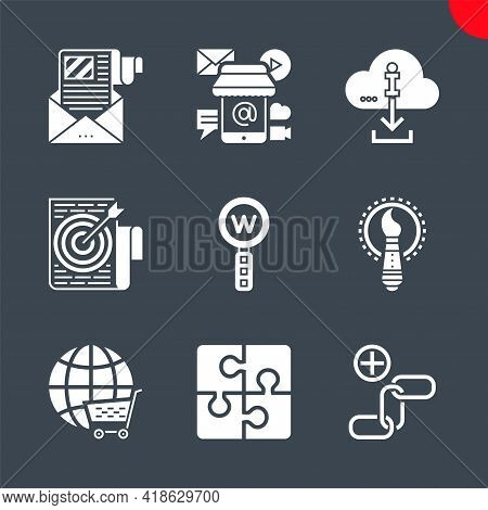 Seo Related Vector Glyph Icons. Global Solution, Creative Service, E-commerce, Keyword Research, Lin