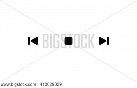 Previous, Stop, Next Icon Vector. Backward And Forward Symbol Illustration