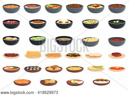 Korean Cuisine Icons Set. Cartoon Set Of Korean Cuisine Vector Icons For Web Design