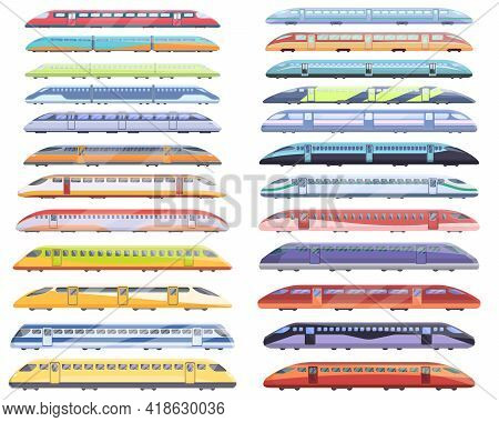 High-speed Transportation Icons Set. Cartoon Set Of High-speed Transportation Vector Icons For Web D