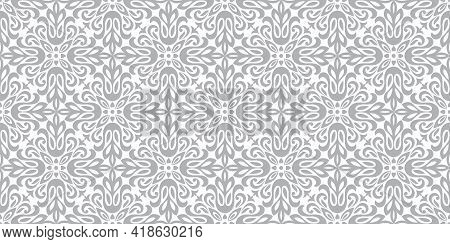 Floral Pattern. Vintage Wallpaper In The Baroque Style. Seamless Vector Background. White And Gray O