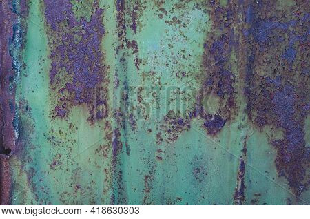 Vintage Background With Rusty Iron Sheet With Shabby Faded Green Paint Closeup, Rough Textured Surfa
