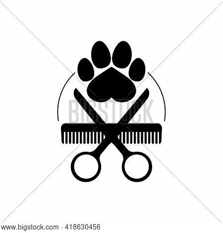 Dog Grooming Logo Design Template. Dog Pawprint With Comb And Scissors. Vector Clipart And Drawing.