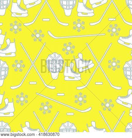 Seamless Pattern With Skates, Goalkeeper Mask, Hockey Stick, Ice Hockey Puck, Snowflakes. Winter Spo