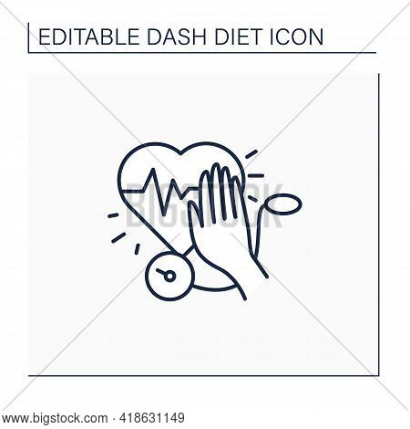 Stop Hypertension Line Icon. Calm High Blood Pressure. Hand Stops Heartbeat. Dash Diet Concept. Isol