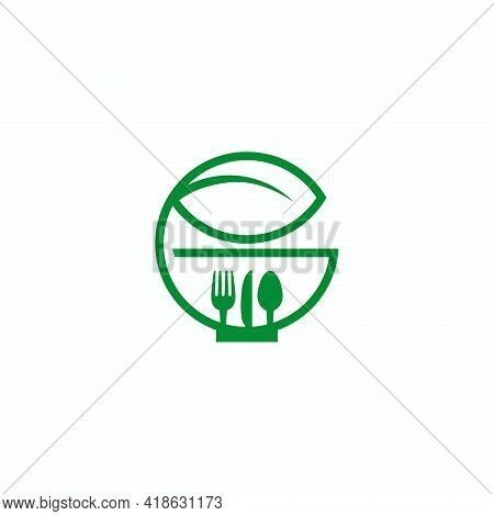 Green Fork And Leaves For Organic Food Icons, Symbols And Logos. Organic Restaurant Logo. Vegetarian