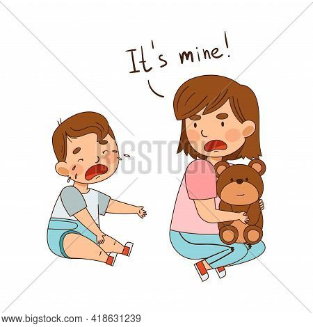 Warring Sister Grabbing Toy Teddy Bear From Her Little Crying Brother As Family Relations Vector Ill