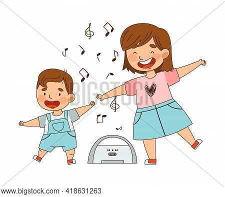 Cheerful Sister With Her Little Brother Dancing To Music As Family Relations Vector Illustration